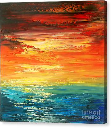 Canvas Print featuring the painting Dramatic Deluge by Tatiana Iliina