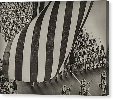 Dramatic Photo Of Us Flag And Uniformed Canvas Print by Everett