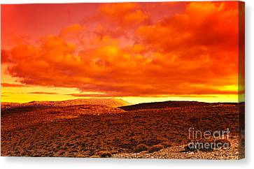 Dramatic Red Sunset At Desert Canvas Print by Anna Om