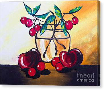 Drawing Of Cherry And Apple Canvas Print by Mongkol Chakritthakool