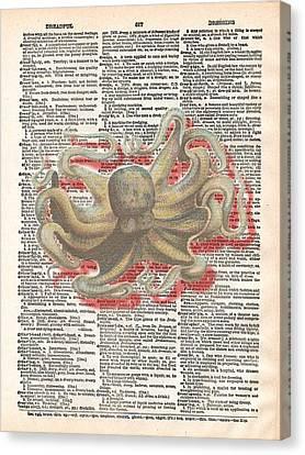 Ephemera Canvas Print - Dreadful Octopus 3 by Marcus  Jules
