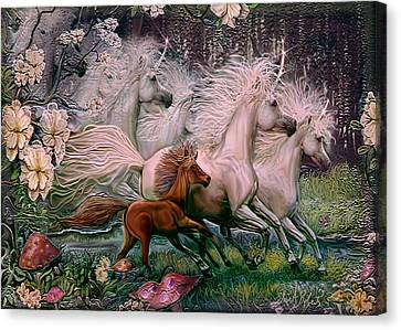 Canvas Print featuring the painting Dreams Of Unicorns by Steve Roberts