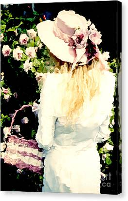 Dreamy Cottage Chic Girl Holding Basket Roses Canvas Print by Kathy Fornal