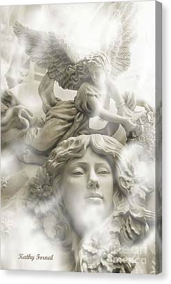 Dreamy Ethereal White Angels And Angel Wings Canvas Print by Kathy Fornal