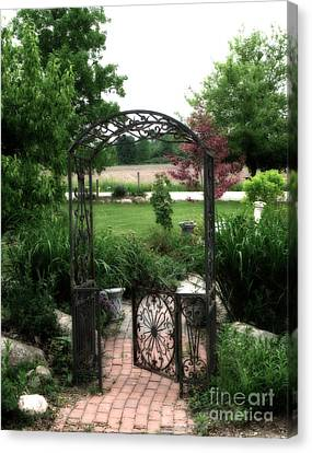 Dreamy French Garden Arbor And Gate Canvas Print by Kathy Fornal