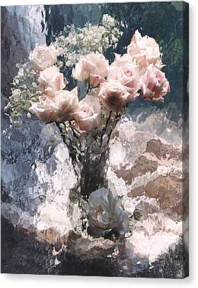 Dreamy Impressionistic Cottage Pink Roses  Canvas Print by Kathy Fornal