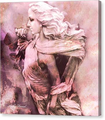 Dreamy Pink Ethereal Angelic Female With Rose Canvas Print by Kathy Fornal