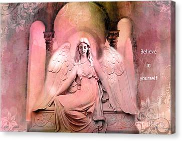 Dreamy Pink Ethereal Inspirational Angel Art  Canvas Print
