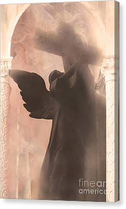 Dreamy Spiritual Ethereal Angel On Cross Canvas Print