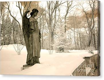 Surreal Infrared Art Canvas Print - Dreamy Surreal Angel Sepia Nature Scene by Kathy Fornal