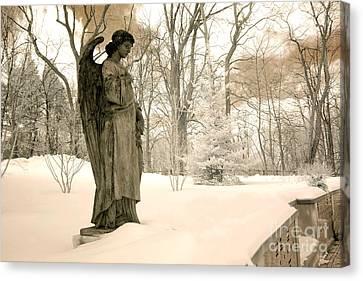 Dreamy Surreal Angel Sepia Nature Scene Canvas Print