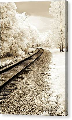 Surreal Infrared Sepia Nature Canvas Print - Dreamy Surreal Infrared Sepia Railroad Scene by Kathy Fornal