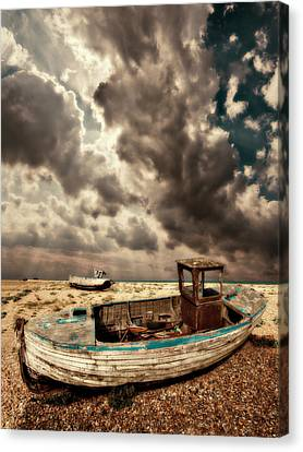 Dreamy Wrecked Wooden Fishing Boats Canvas Print by Meirion Matthias