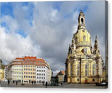 Dresden Church Of Our Lady And New Market Canvas Print by Christine Till