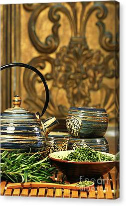 Dries Herb Leaves  Canvas Print by Sandra Cunningham