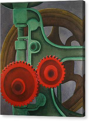 Canvas Print featuring the painting Drill Gears by Paul Amaranto
