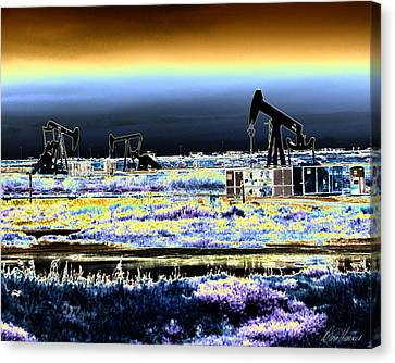 Drilling For Black Gold Canvas Print by Diana Haronis