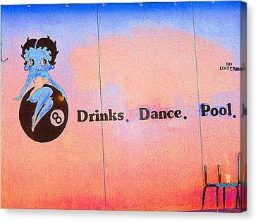 Drink Dance Pool Canvas Print by Louis Nugent