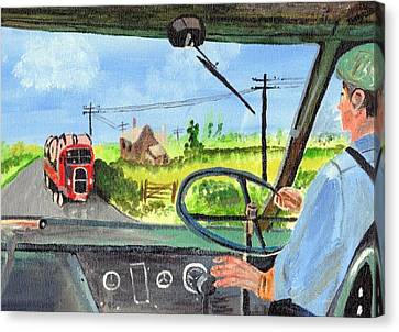 Canvas Print featuring the painting Driving   Yesteryear by Audrey Pollitt