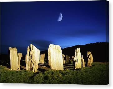 Drombeg, County Cork, Ireland Moon Over Canvas Print by Richard Cummins