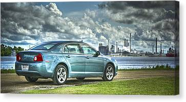 Canvas Print featuring the pyrography Drove My Chevy To The Levee by Ray Devlin