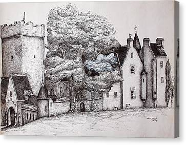 Canvas Print featuring the drawing Drum Castle by Sheep McTavish