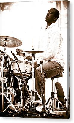 Drummer Larnell Lewis At Sunfest Canvas Print by Gordon Wood