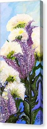 Canvas Print featuring the painting Drunken Flowers by Annamarie Sidella-Felts