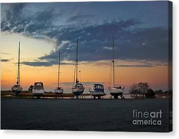Dry Dock Lineup Canvas Print by Susan Isakson