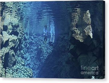 Dry Suit Divers Entering The Gin Clear Canvas Print by Mathieu Meur