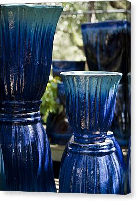 Ceramic Glazes Canvas Print - Dual Blue Fluted Pots by Teresa Mucha