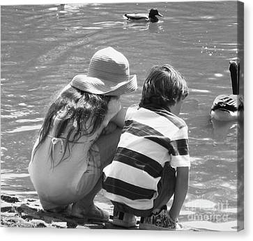Duck Pond Siblings Canvas Print by Ann Johndro-Collins