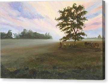 Canvas Print featuring the painting Duel At Dawn by Karen Wilson