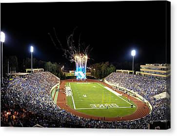 Duke Fireworks At A Packed Wallace Wade Stadium Canvas Print by Lance King