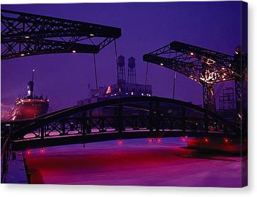 Duluth Harbor - Museum Ship & Cityscape Canvas Print by Medford Taylor