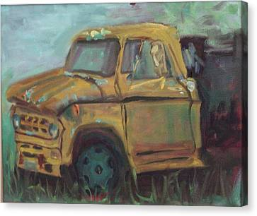 Canvas Print featuring the painting Dump Truck by Carol Berning