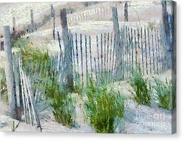 Dune Fences At Cape Hatteras National Seashore Canvas Print by Anne Kitzman