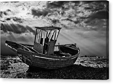 Dungeness In Mono Canvas Print by Meirion Matthias