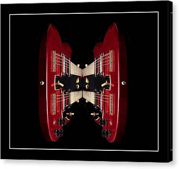 Duo-neck Red Guitar Canvas Print by Trudy Wilkerson
