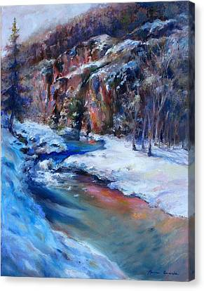 Durango Stream Canvas Print by Bonnie Goedecke