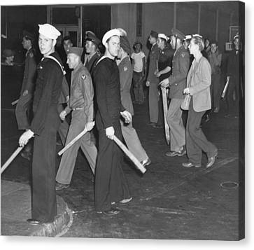 During Zoot Suit Riot, Los Angeles Canvas Print by Everett