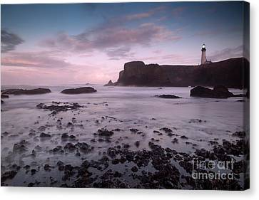 Dusk At Yaquina Head Lighthouse Canvas Print by Keith Kapple