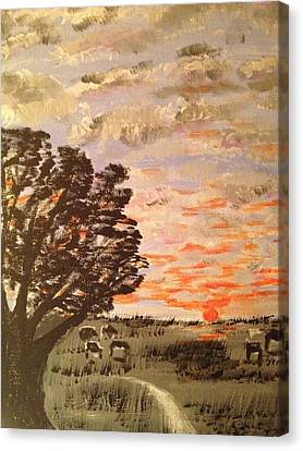 Canvas Print featuring the painting Dusk by Brindha Naveen