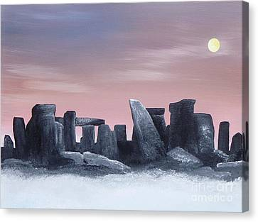 Dusk On The Winter Solstice At Stonehenge 1877 Canvas Print by Alys Caviness-Gober