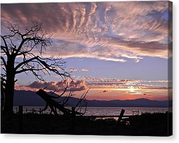 Canvas Print featuring the photograph Dusk Over Lake Tahoe by Kirsten Giving