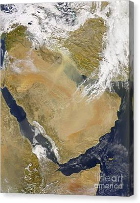 Sudan Red Canvas Print - Dust And Smoke Over Iraq And The Middle by Stocktrek Images