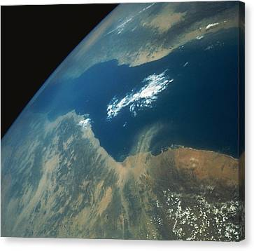 Sudan Red Canvas Print - Dust Plume Over The Red Sea by Stocktrek