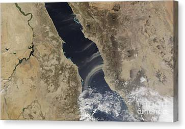 Sudan Red Canvas Print - Dust Plumes Blow Off The Coast Of Saudi by Stocktrek Images