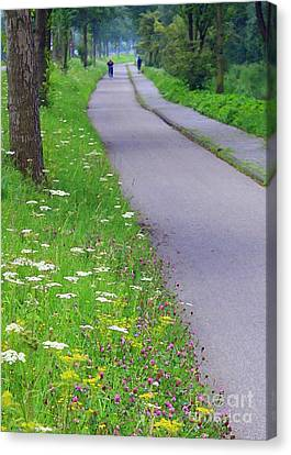 Dutch Bicycle Path - Digital Painting Canvas Print by Carol Groenen