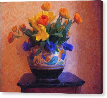 Dutch Flower Pot Canvas Print by Nop Briex